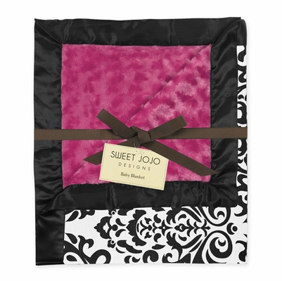 Isabella Hot Pink Minky, Damask and Satin Baby Blanket