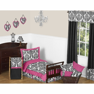 Isabella Pink, Black and White Toddler Bedding Collection