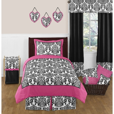 Isabella Pink, Black and White Twin Bedding Collection