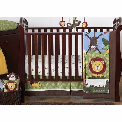 Jungle Time 11 Piece Bumperless Crib Bedding Collection