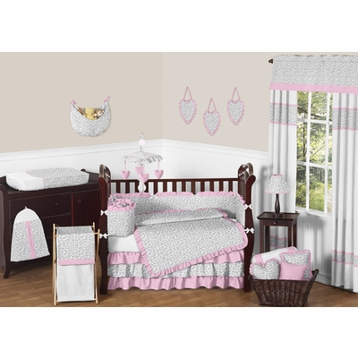 Kenya Pink and Gray Crib Bedding Collection