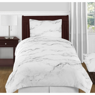 Marble Black and White Twin / Twin XL Bedding Collection