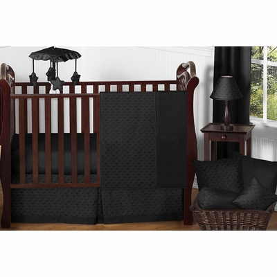 Minky Dot Black 11 Piece Bumperless Crib Bedding Collection