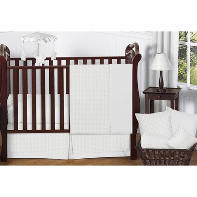 Minky Dot White 11 Piece Bumperless Crib Bedding Collection