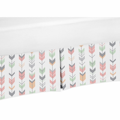 Mod Arrow Coral and Mint Collection Crib Bed Skirt