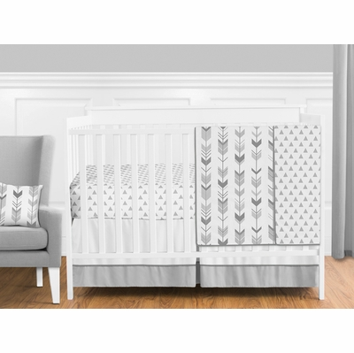 Mod Arrow Grey and White 4 Piece Bumperless Crib Bedding Collection