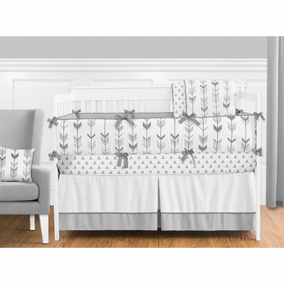 Mod Arrow Grey and White Crib Bedding Collection