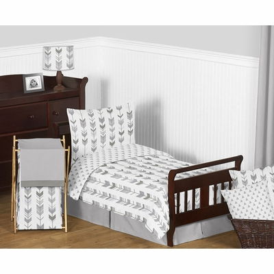 Mod Arrow Grey and White Toddler Bedding Collection