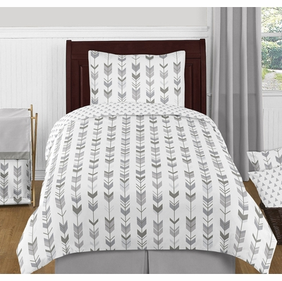 Mod Arrow Grey and White Twin Bedding Collection
