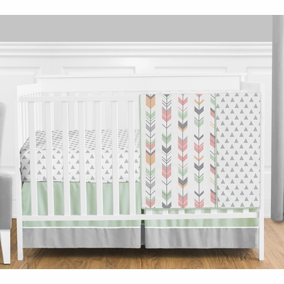 Mod Arrow Grey, Coral and Mint 4 Piece Bumperless Crib Bedding Collection