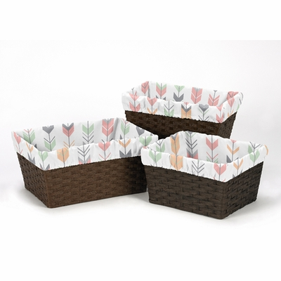 Mod Arrow Grey, Coral and Mint Collection Basket Liner