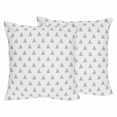 Mod Arrow Grey, Coral and Mint Collection Triangle Decorative Accent Throw Pillows - Set of 2