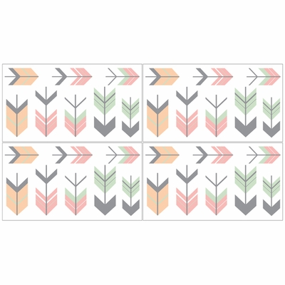 Mod Arrow Grey, Coral and Mint Collection Wall Decals - Set of 4 Sheets