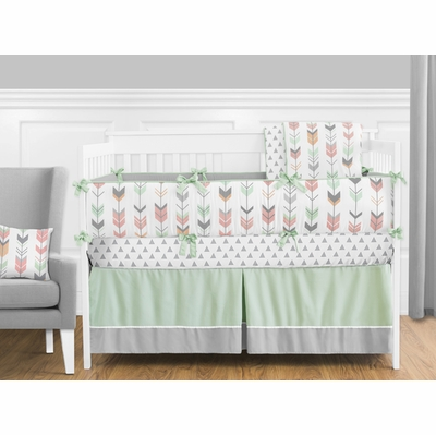 Mod Arrow Grey, Coral and Mint Crib Bedding Collection