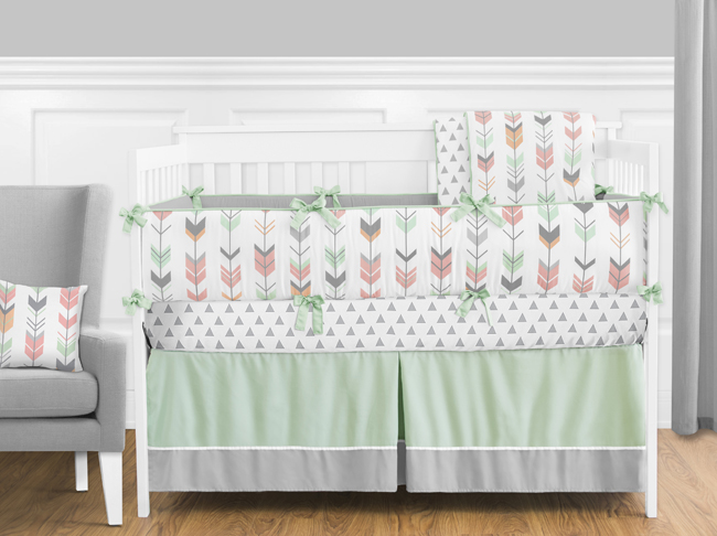 Mod Arrow Grey Coral and Mint Crib Bedding Collection