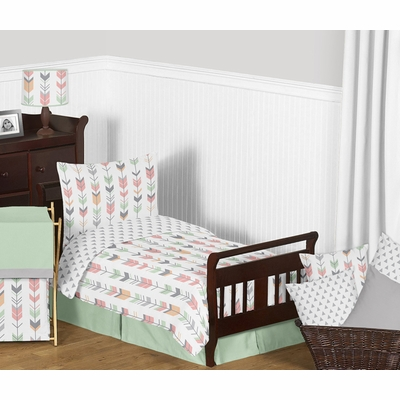 Mod Arrow Grey, Coral and Mint Toddler Bedding Collection