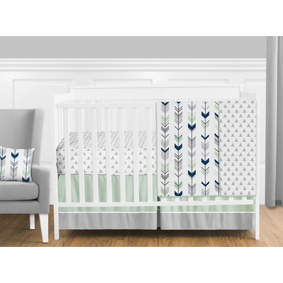 Mod Arrow Grey, Navy and Mint 11 Piece Bumperless Crib Bedding Collection