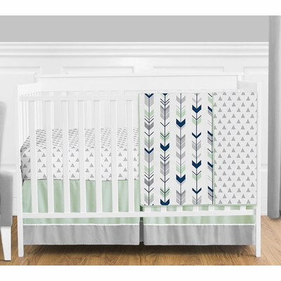 Mod Arrow Grey, Navy and Mint 4 Piece Bumperless Crib Bedding Collection