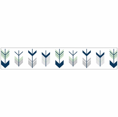 mod arrow grey navy and mint collection wallpaper border
