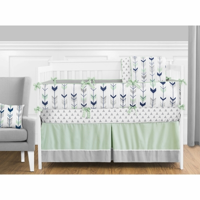 Mod Arrow Grey, Navy and Mint Crib Bedding Collection