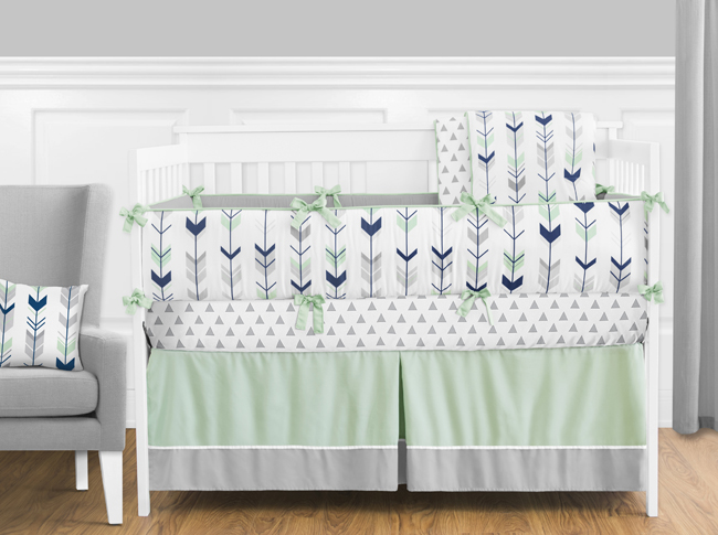 mod arrow grey navy and mint crib bedding collection