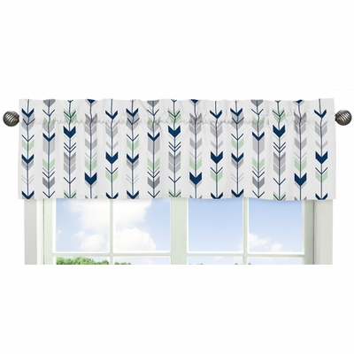 Mod Arrow Grey, Navy and Mint Collection Window Valance