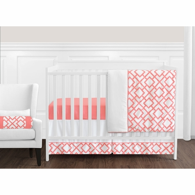 Mod Diamond Coral and White 11 Piece Bumperless Crib Bedding Collection
