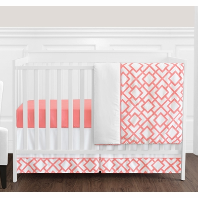 Mod Diamond Coral and White 4 Piece Bumperless Crib Bedding Collection
