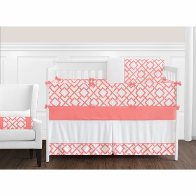 Mod Diamond Coral and White Crib Bedding Collection