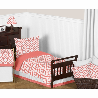 Mod Diamond Coral and White Toddler Bedding Collection
