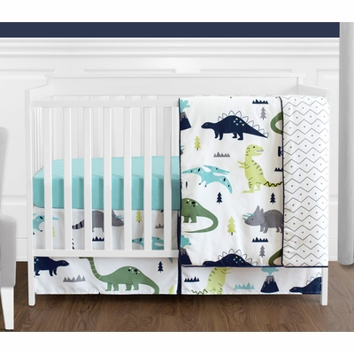 Mod Dinosaur Blue and Green 4 Piece Bumperless Crib Bedding Collection