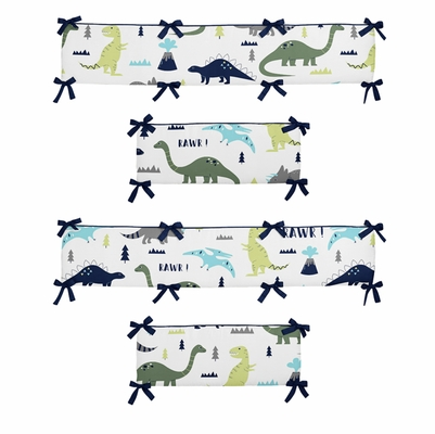 Mod Dinosaur Blue and Green Collection Crib Bumper Pad