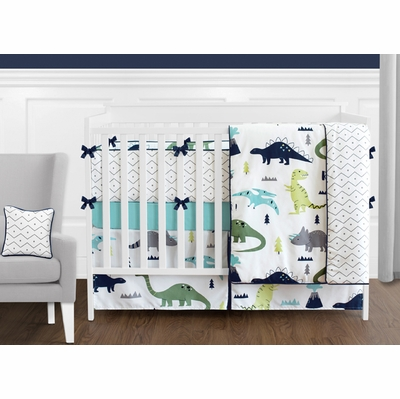 Mod Dinosaur Blue and Green Crib Bedding Collection