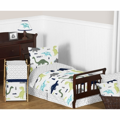 Mod Dinosaur Blue and Green Toddler Bedding Collection