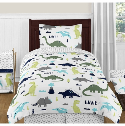 Mod Dinosaur Blue and Green Twin Bedding Collection