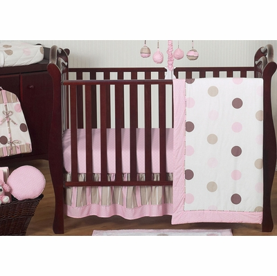 Mod Dots Pink 11 Piece Bumperless Crib Bedding Collection