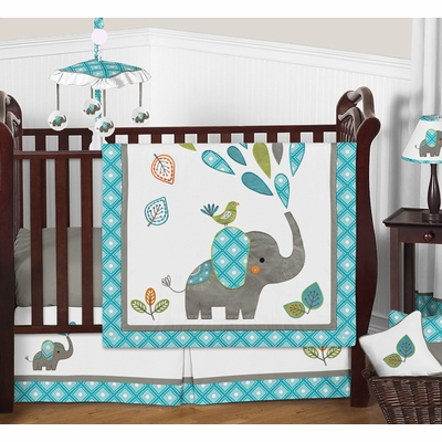 Mod Elephant 11 Piece Bumperless Crib Bedding Collection