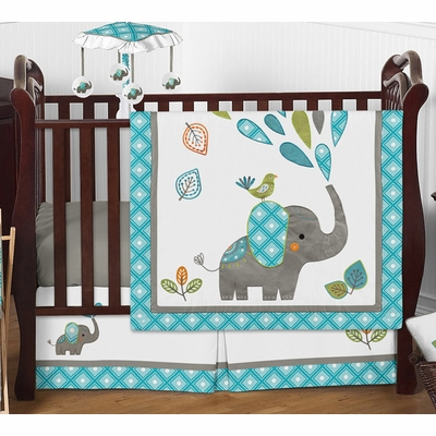 Mod Elephant 4 Piece Bumperless Crib Bedding Collection