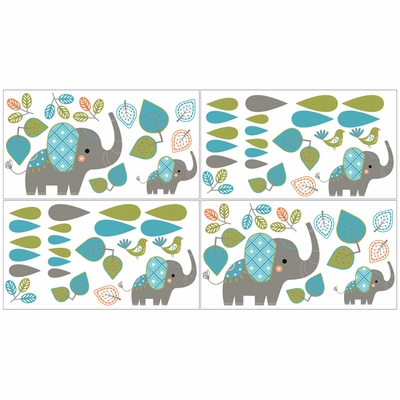 Mod Elephant Collection Peel and Stick Wall Decal Stickers - Set of 4 Sheets