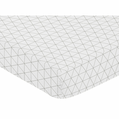 Mod Jungle Collection Crib Sheet - Grey and White Triangle Print