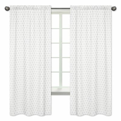 Mod Jungle Collection Grey and White Triangle Print Window Panels - Set of 2