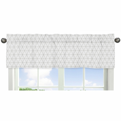 Mod Jungle Collection Grey and White Triangle Print Window Valance