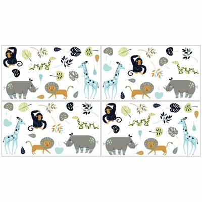 Mod Jungle Collection Peel and Stick Wall Decal Stickers - Set of 4 Sheets