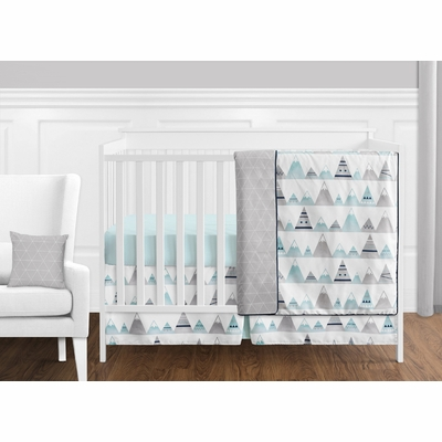 Mountains Grey and Aqua 11 Piece Bumperless Crib Bedding Collection