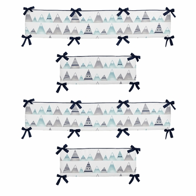 Mountains Grey and Aqua Collection Crib Bumper Pad