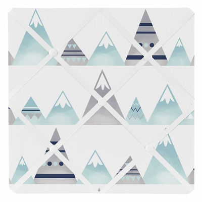 Mountains Grey and Aqua Collection Fabric Memo Board