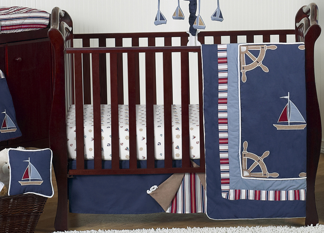 Nautical Nights 11 Piece Bumperless Crib Bedding Collection