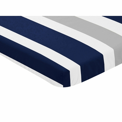 Navy Blue and Gray Stripe Collection Mini Crib Sheet