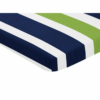 Navy Blue and Lime Stripe Collection Mini Crib Sheet