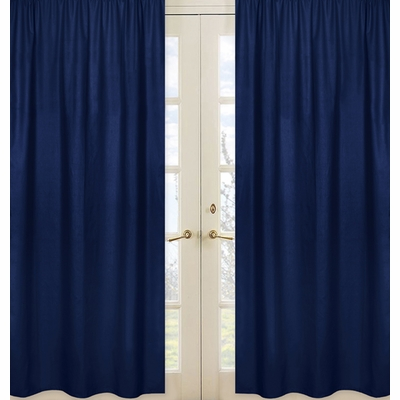 Navy Window Panel for Stripe Navy and Lime Collection - Set of 2